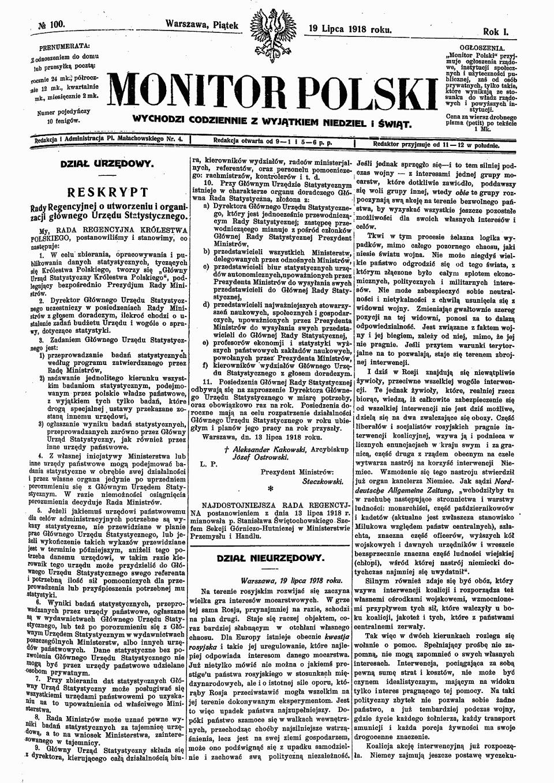 Rys Historyczny 100 Lat Głównego Urzędu Statystycznego