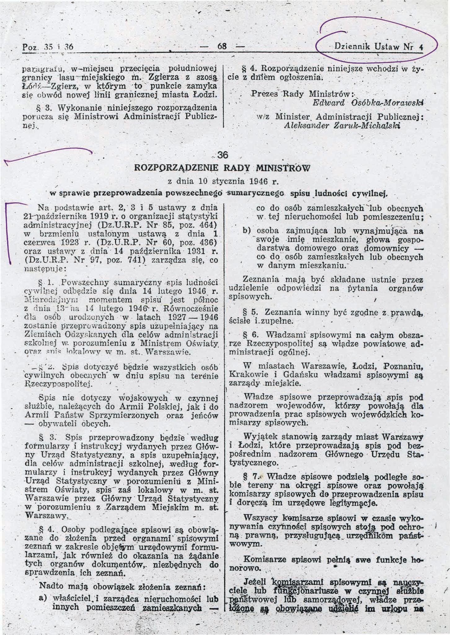 Rozporządzenie Rady Ministrów z dnia 10 stycznia 1946 r.
